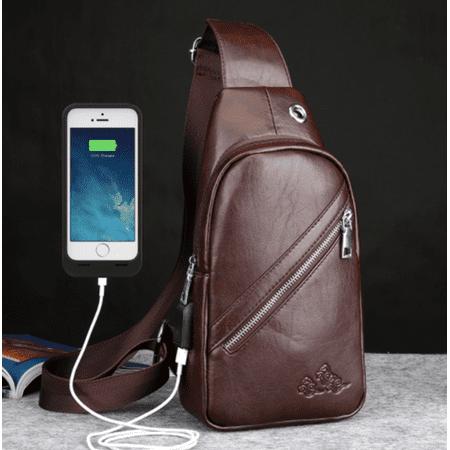 Men Fashion PU Leather Rechargeable Crossbody Chest Bag Messenger Shoulder Sling Bag Daypack For Boy & Men Gifts