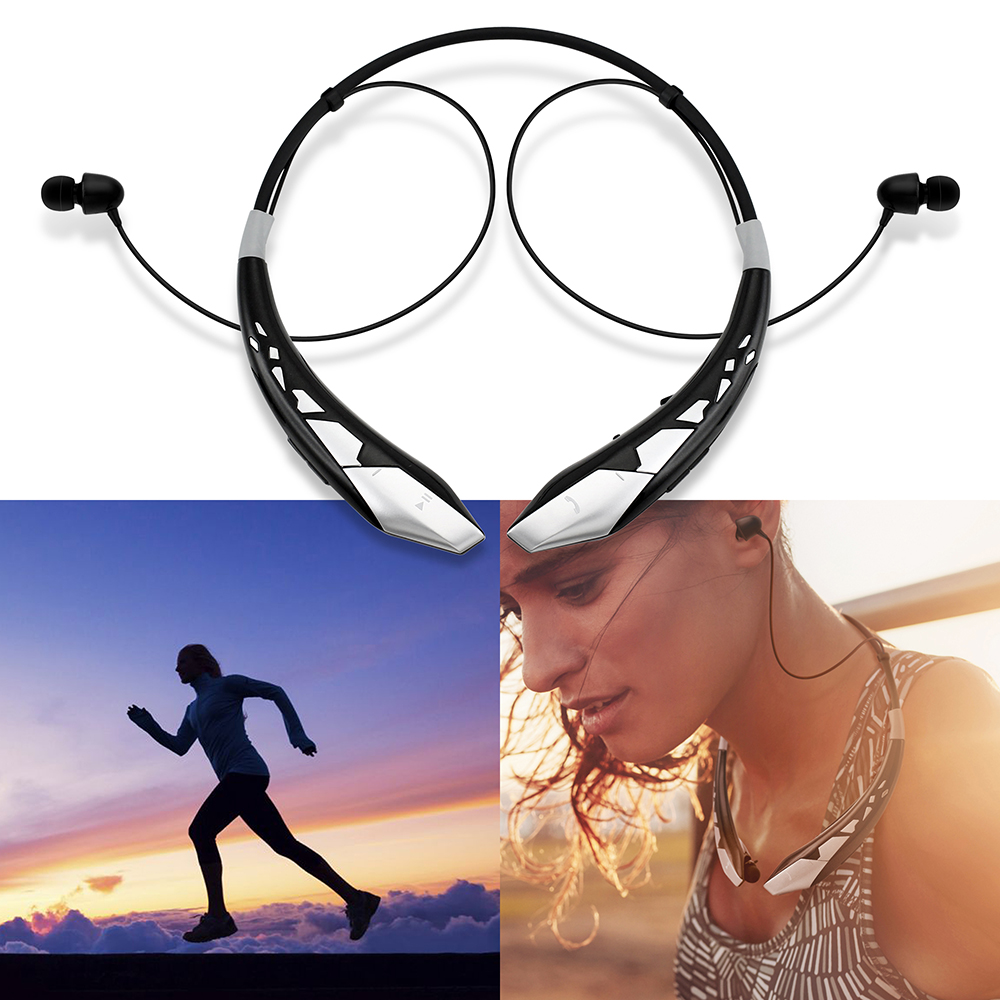 Bluetooth Sport Stereo Headphones Wireless Universal Earphones Running or Workout driving Gym Headset - Black Silver