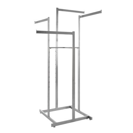 Econoco - Clothing Rack, 4-Way High-Capacity Clothing Rack, Adjustable Arms, Square Tubing, Perfect for Clothing Store Display - Satin Chrome Econocos 4 High-Capacity straight arm clothing rack is the premiere clothing rack for store display! This fixture for clothing has 4 straight 22 long arms. This allows for any store to place their clothing on this clothing store display rack any way that best fits their needs. With the arm height being adjustable on this clothing rack it allows the customer to put the arm anywhere from 48 to 72 with 3 increments. Not only does this 4-arm clothing rack have adjustable arms but it is chrome plated for the ultimate showroom look. With this clothing store display rack being chrome it adds to the ambiance of any store or boutique that you choose to place this clothing rack. With the clothing rack weighing 37 pounds you can rest assured no matter where you place this clothing rack that it will stay put where it is meant to. Comes with adjustable levelers for uneven floors so your rack stays exactly where it should no wobbling. With this clothing store rack having four arms you can easily place a dozen items of clothing on this rack, and have it displayed and readjusted to whatever needs fit your store the best!