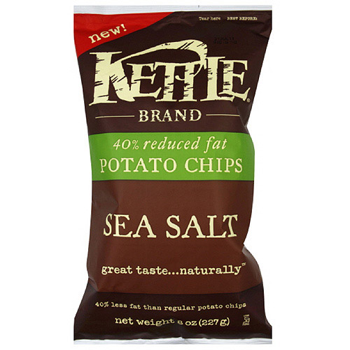 Kettle Brand Sea Salt Potato Chips, 8 oz, (Pack of 12)