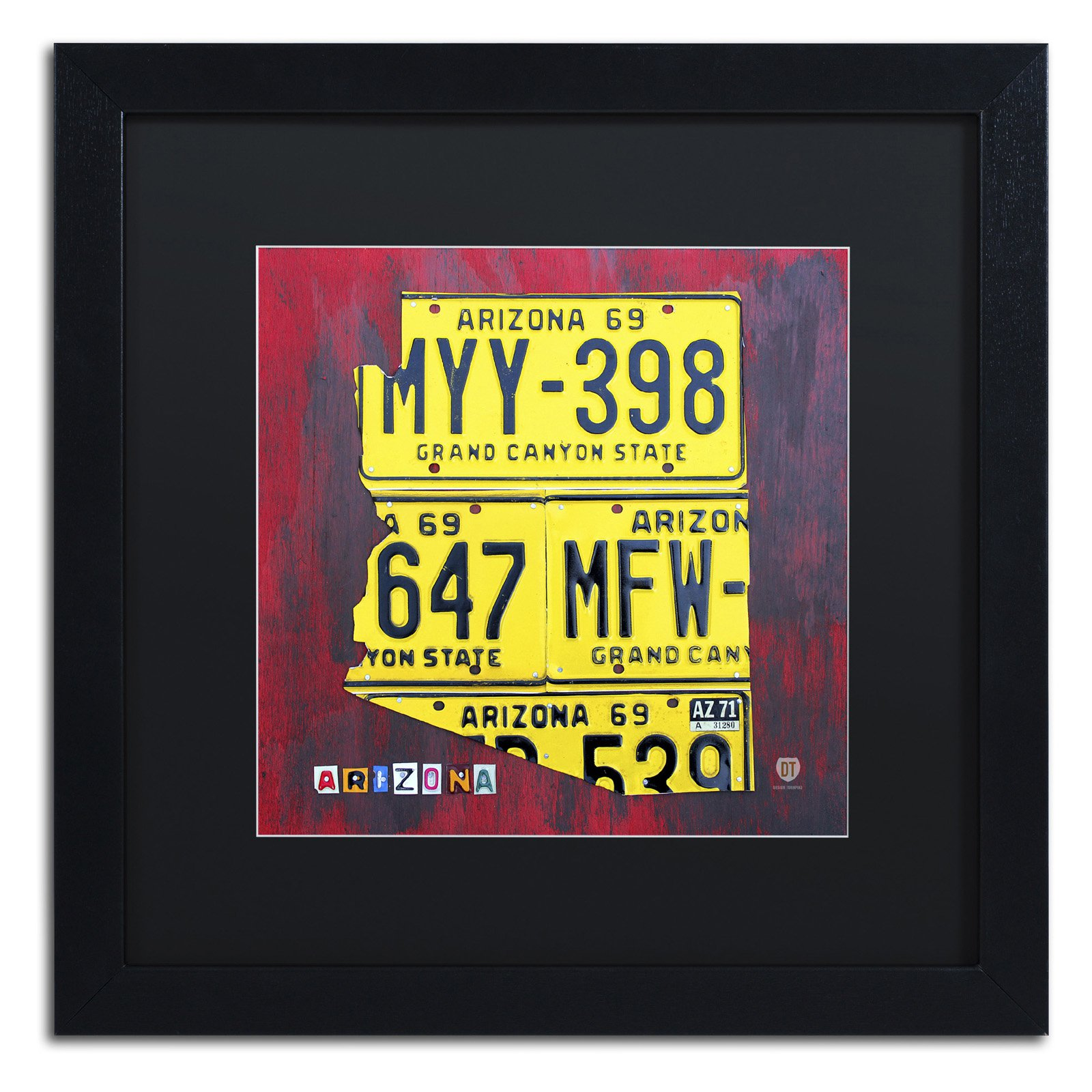 Trademark Fine Art Arizona License Plate Framed Wall Art