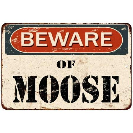 Moose Warning Sign - Beware of Moose Vintage Look Rustic Chic Funny Metal Sign 8x12 8123597