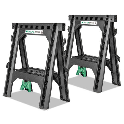 Hitachi 115445 27 In. Plastic Sawhorse (2-Pack) by