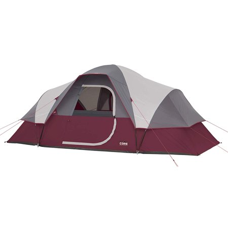 Tmnt Foot - CORE Extended Dome Tent 16 x 9 Foot 9 Person Camping Tent with Air Vents, Red