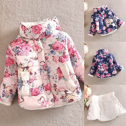 @Girl12Queen Kids Girls Winter Warm Cotton Plush Thick Floral Bow Coat Jackets Outerwear