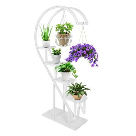 WALFRONT Flower Display Stand, Indoor Multi-layer Wrought Iron Flower Pot Rack Balcony Plant Display Stand Rack Black/White (23.6 * 11.8 * 60.2in) ()