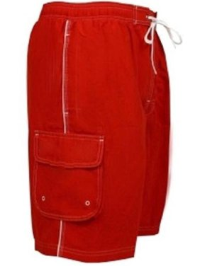 Adoretex Men's Swim Trunks Watershort Swimsuit with Mesh Lining (M0001) - Red - Large