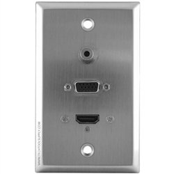 Svga Wall Plate - 1 3.5mm 1x HDMI 1x SVGA Stainless Steel Wall Plate