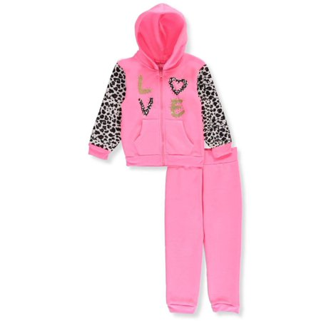 Girls Luv Pink Little Girls  Toddler 2-Piece Fleece Sweatsuit (Sizes ... aad1094deb41