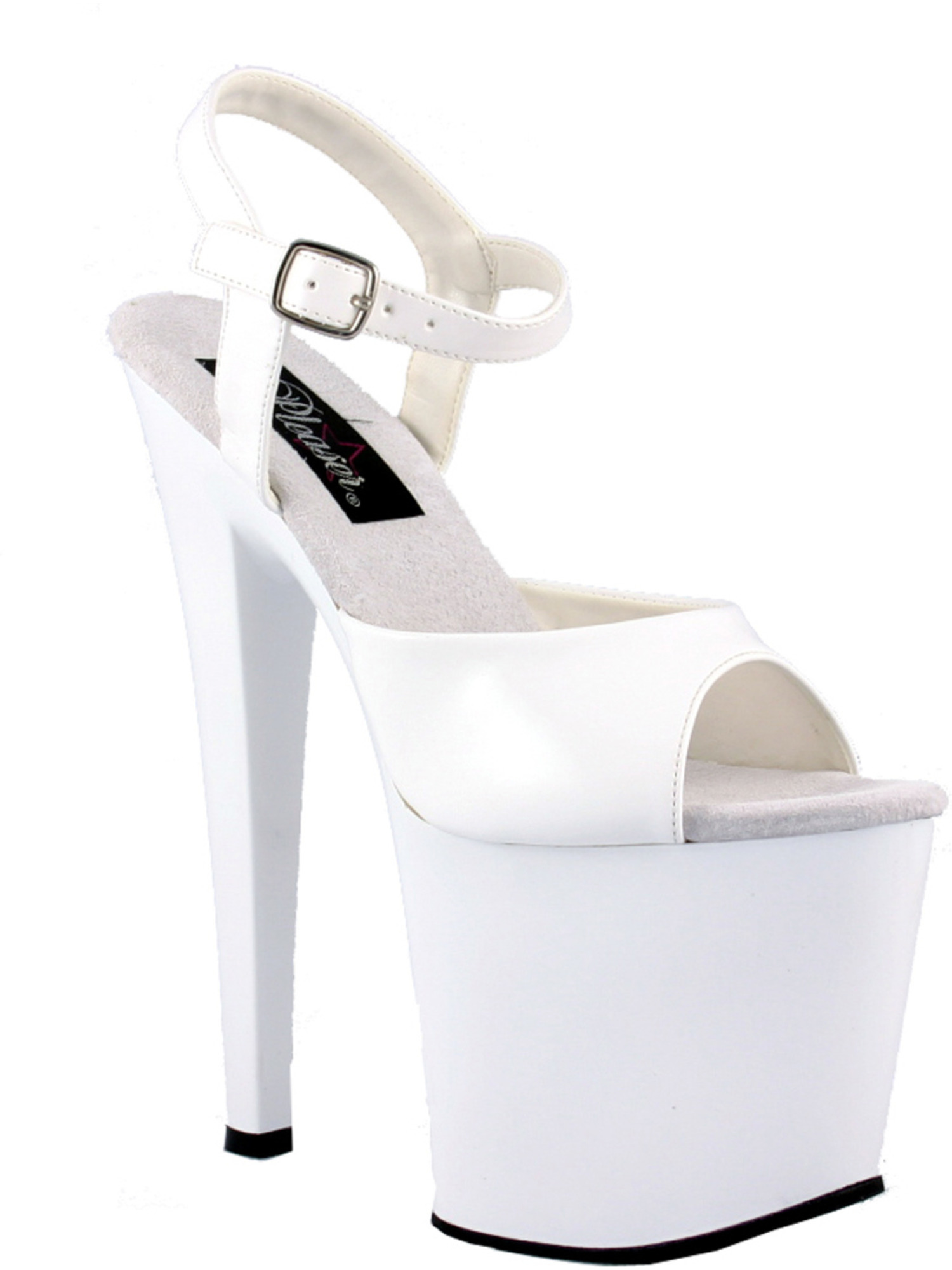 Womens All White Shoes 7 1/2 Inch Heels High Platform Sandals With Ankle Strap