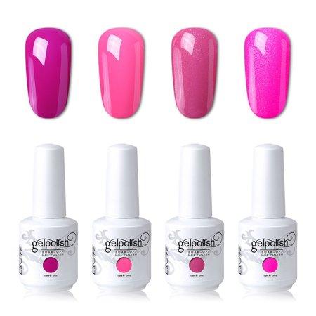 Elite99 4PCS Bright Pink Color Gel Nail Polish Kit Soak Off UV LED Nail Art Lacquer Manicure Set C114+Gel Nail Remover Wraps