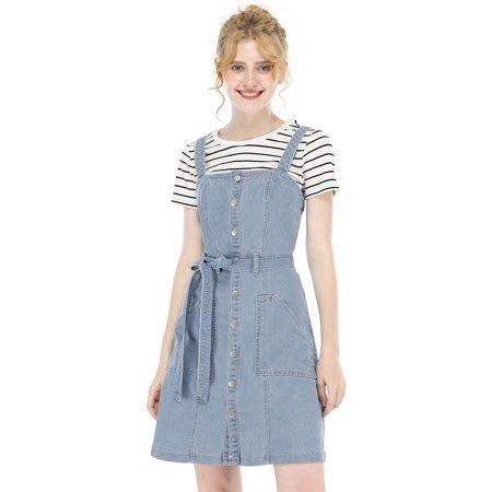 Allegra K Juniors Teen Adjustable Strap A-Line Overall Denim Dress