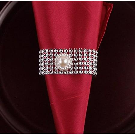 Ribbon Napkin Rings (Set of 10 Ivory Pearl Bling Napkin Rings )