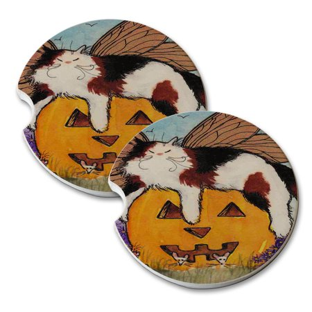 KuzmarK Sandstone Car Drink Coaster (set of 2) - Calico Maine Coon Kitty Fairy with Jack O'Lantern and Mice Halloween Cat Art by Denise - Halloween Inspired Drinks