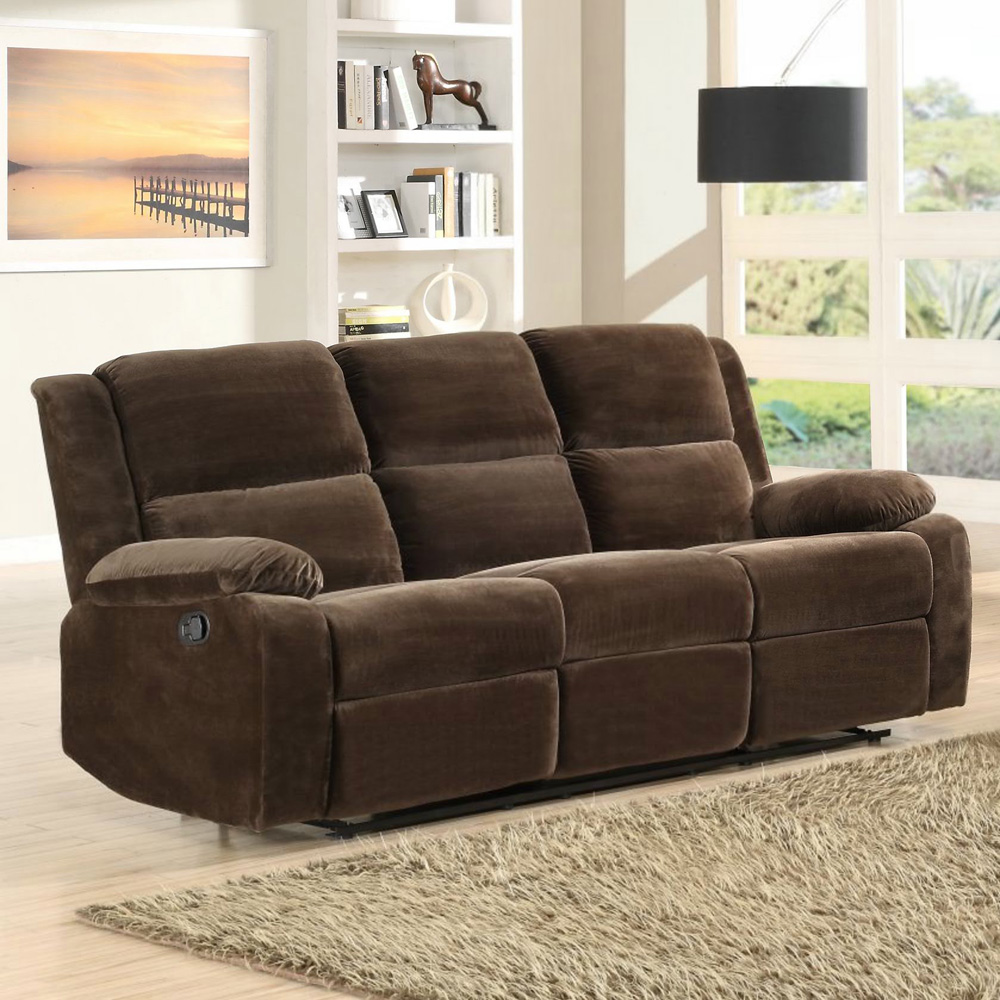 Homelegance Snyder Double Reclining Sofa in Coffee Microfiber