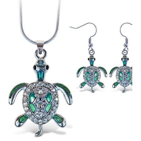 Sparkling Necklace Sparkling Sea Turtle Necklace and Earrings - Sea Turtle Necklace