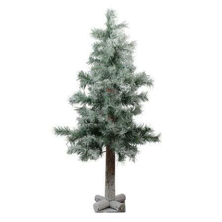 3' Medium Flocked and Glittered Woodland Alpine Artificial Christmas Tree - Unlit ()