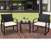 SUNCROWN Outdoor Furniture 3 Piece Patio Bistro Set Black Wicker Chairs and Glass Top Coffee Table, Beige-White Cushion