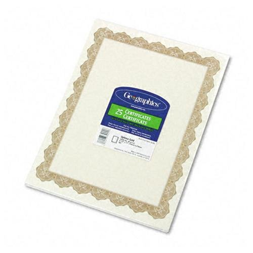 """Geographics Blank Award Parchment Certificate 8.50"""" X 11"""" Inkjet, Laser Compatible Gold With Golden... by Royal"""
