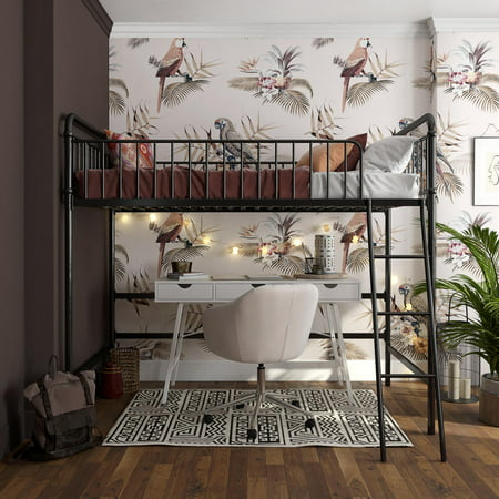 Better Homes and Gardens Kelsey Twin Metal Loft Bed, Black
