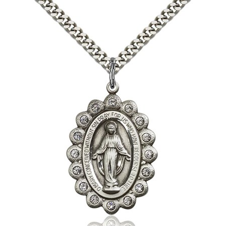 Sterling Silver Miraculous Pendant 1 1 8 X 3 4 Inches With Heavy Curb Chain