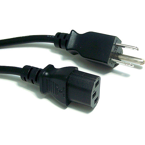 Micro Connectors AC Power Cord Cable, 15', Black