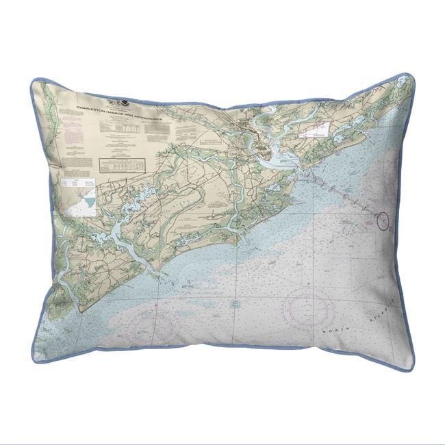Betsy Drake HJ11521 16 x 20 in. Charleston Harbor & Approaches, SC Nautical Map Large Corded Indoor & Outdoor Pillow - image 1 of 1