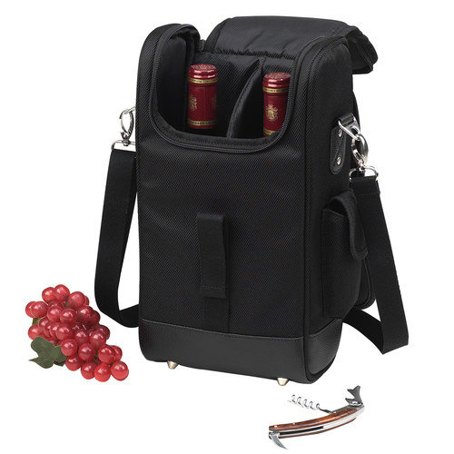 Picnic At Ascot New York Two Bottle Carrier in Black