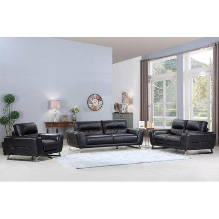 (Global Furniture 485 Modern Black Genuine Italian Leather Sofa Set 3 Pcs)