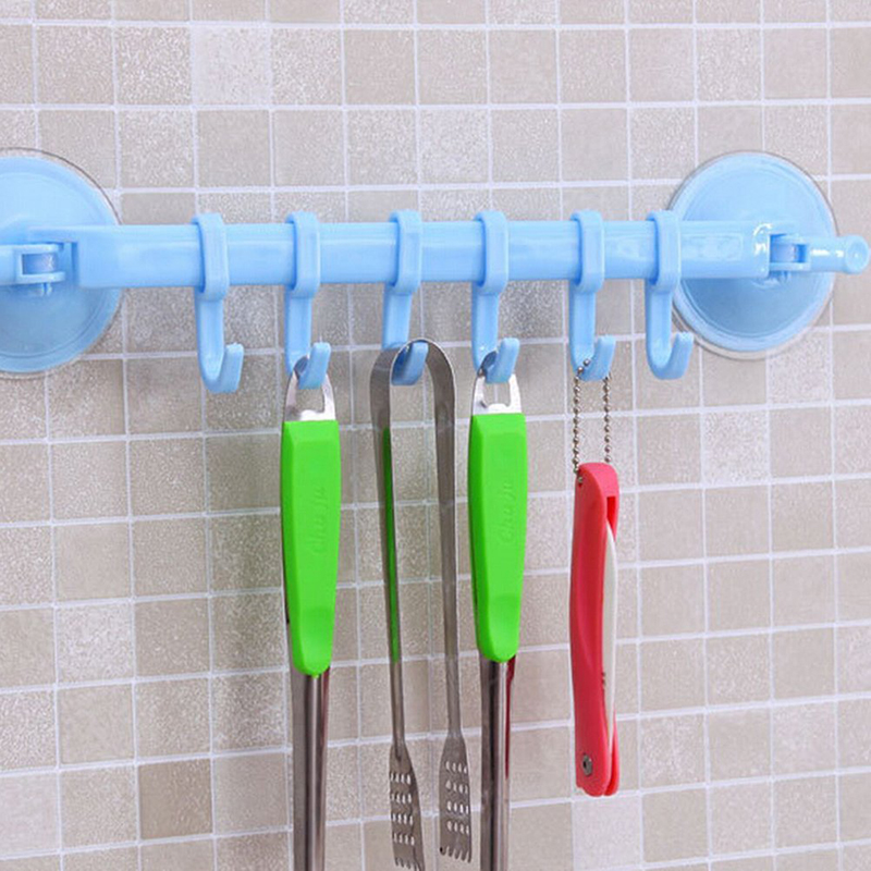 6 Hooks Bathroom Kitchen Shelf Double Suction Storage Wall Mounted Towel Holder  MZ