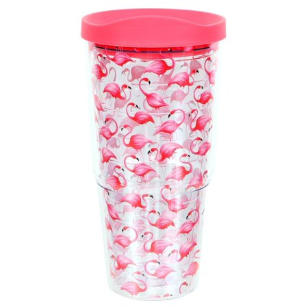 Flock of Pink Flamingos Insulated Tumbler with Lid 20 Ounces](Tumblers With Lids)