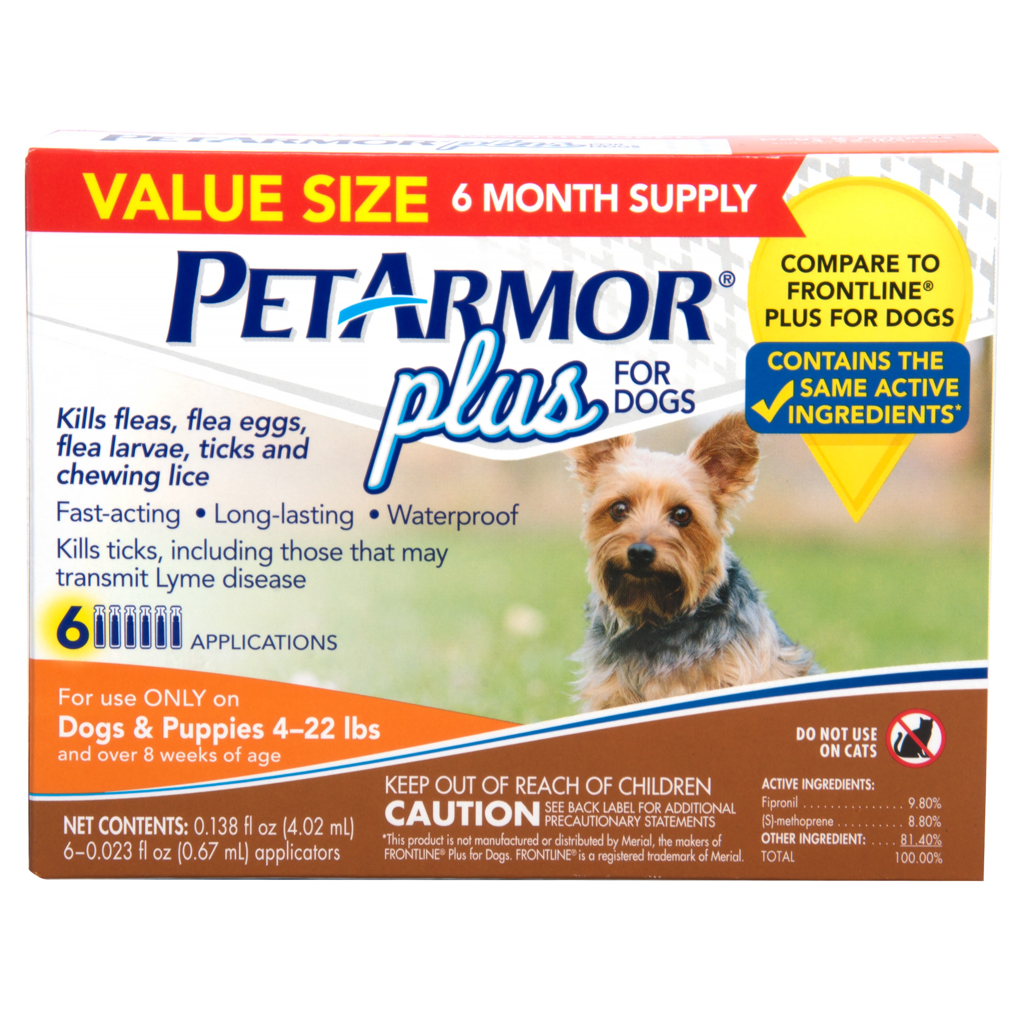 PetArmor Plus Flea & Tick Prevention (4-22 lbs), 6 Treatments