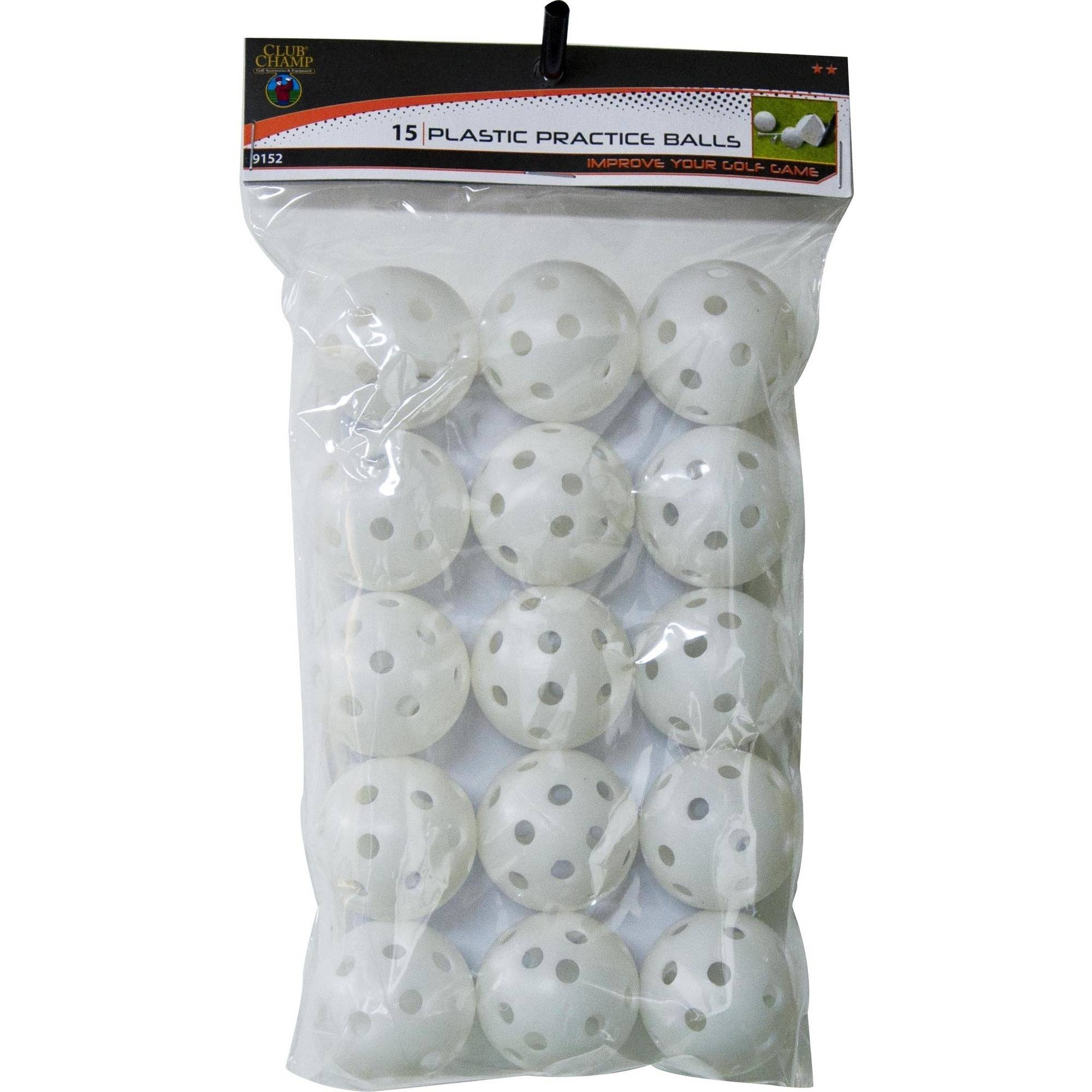 Club Champ 15pk Practice Balls With Holes White