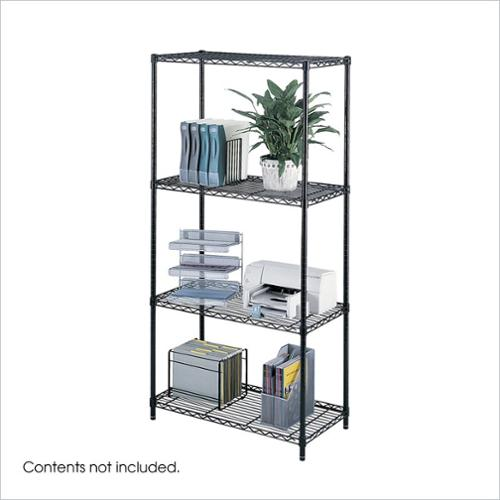 "Safco 36""x18"" Industrial Wire Shelving in Black"