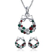 Fashion Sparkling Christmas Bow Red Green White Crystal Holiday Wreath Pendant Necklace Stud Earrings Jewelry Set for Women for Teen Crystal Silver Plated