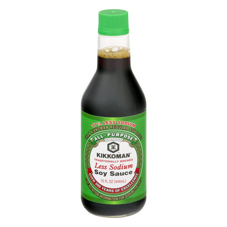 (2 Pack) Kikkoman Less Sodium Soy Sauce, 15 oz