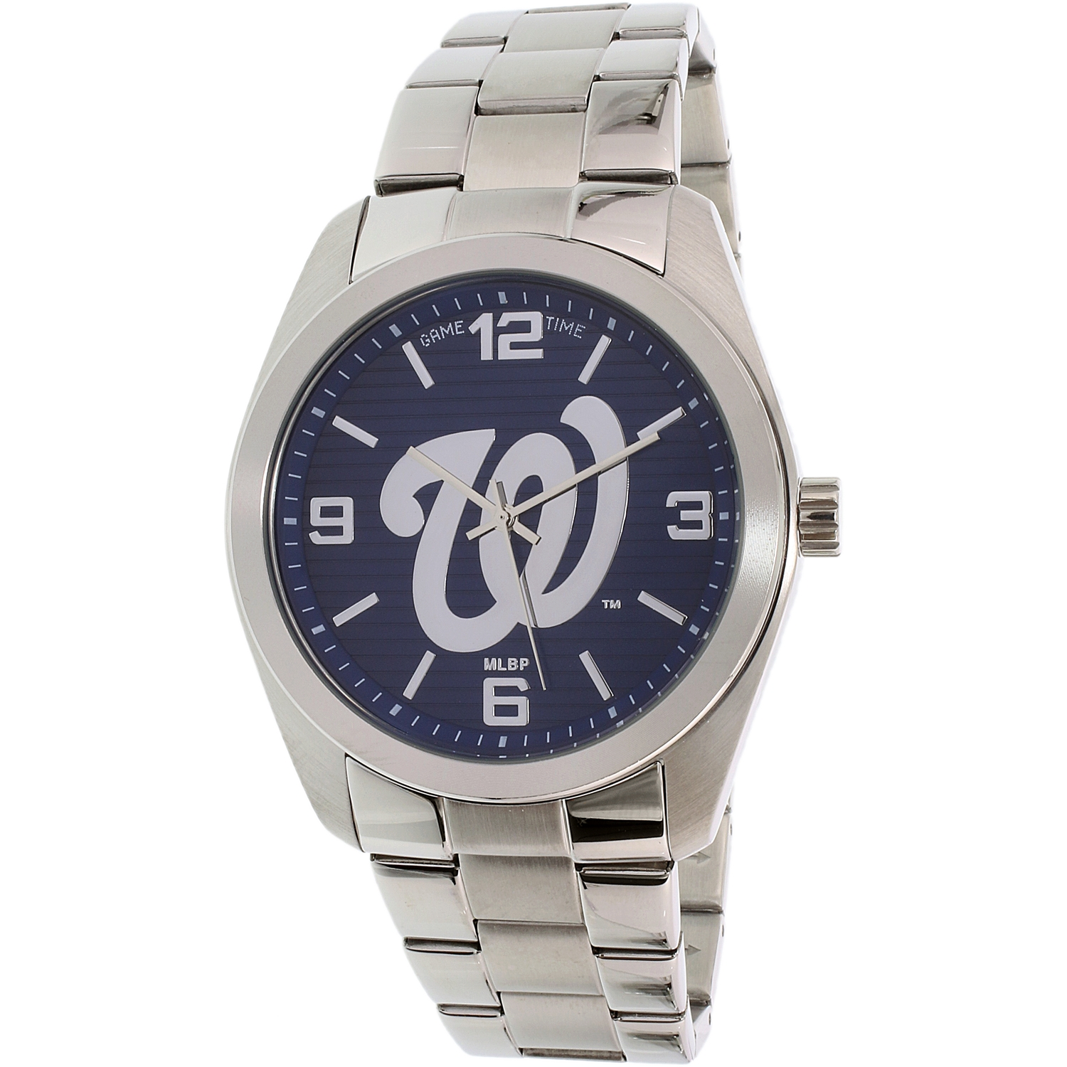 Gametime Men's Elite Washington Nationals MLB-ELI-WAS Silver Stainless-Steel Plated Japanese Quartz Dress Watch