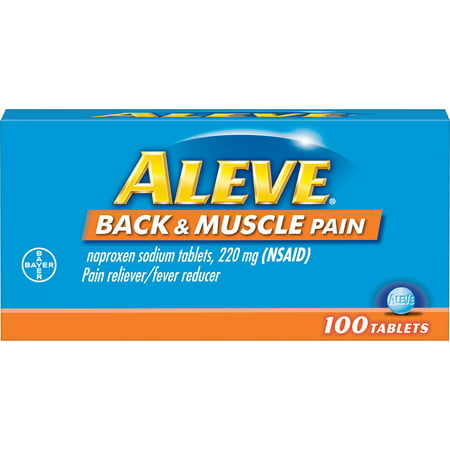 Aleve Back & Muscle Pain Reliever/Fever Reducer Naproxen Sodium Tablets, 220 mg, 100