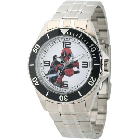 Marvel's Deadpool Men's Honor Stainless Steel Watch, Black Bezel, Stainless Steel Bracelet