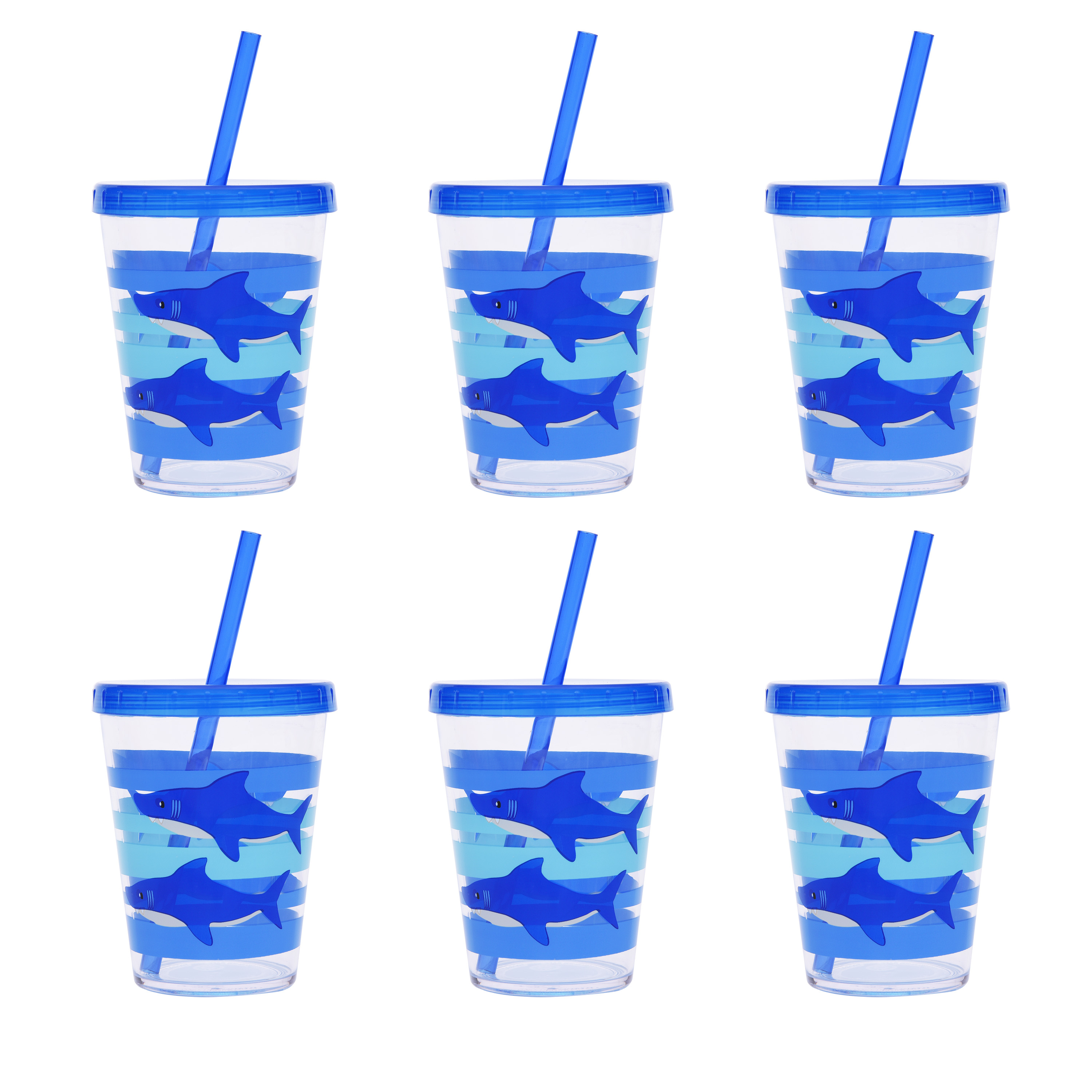 Mainstays Shark Melamine 6-Pack Tumbler with Straw and Lid Set, Blue
