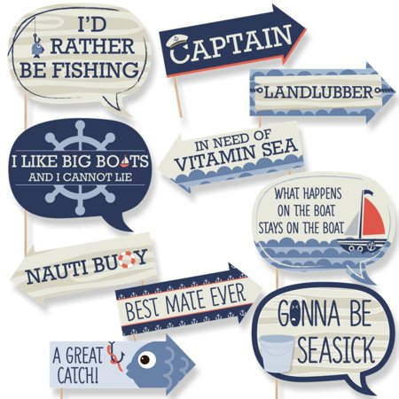 Funny Ahoy - Nautical - Baby Shower or Birthday Party Photo Booth Props Kit - 10 Piece (Nautical Theme Baby Shower)