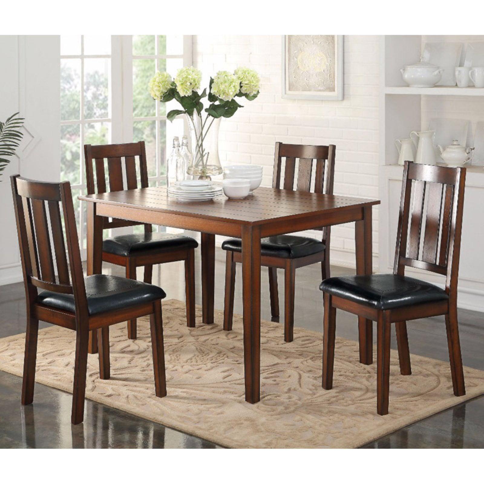 Stylish Wooden Dining Set, Black & Brown, 5 Piece set