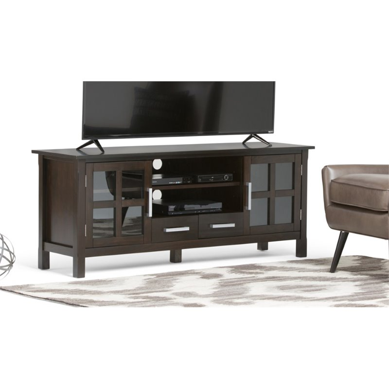 "Atlin Designs 60"" Wide TV Stand in Dark Walnut Brown"