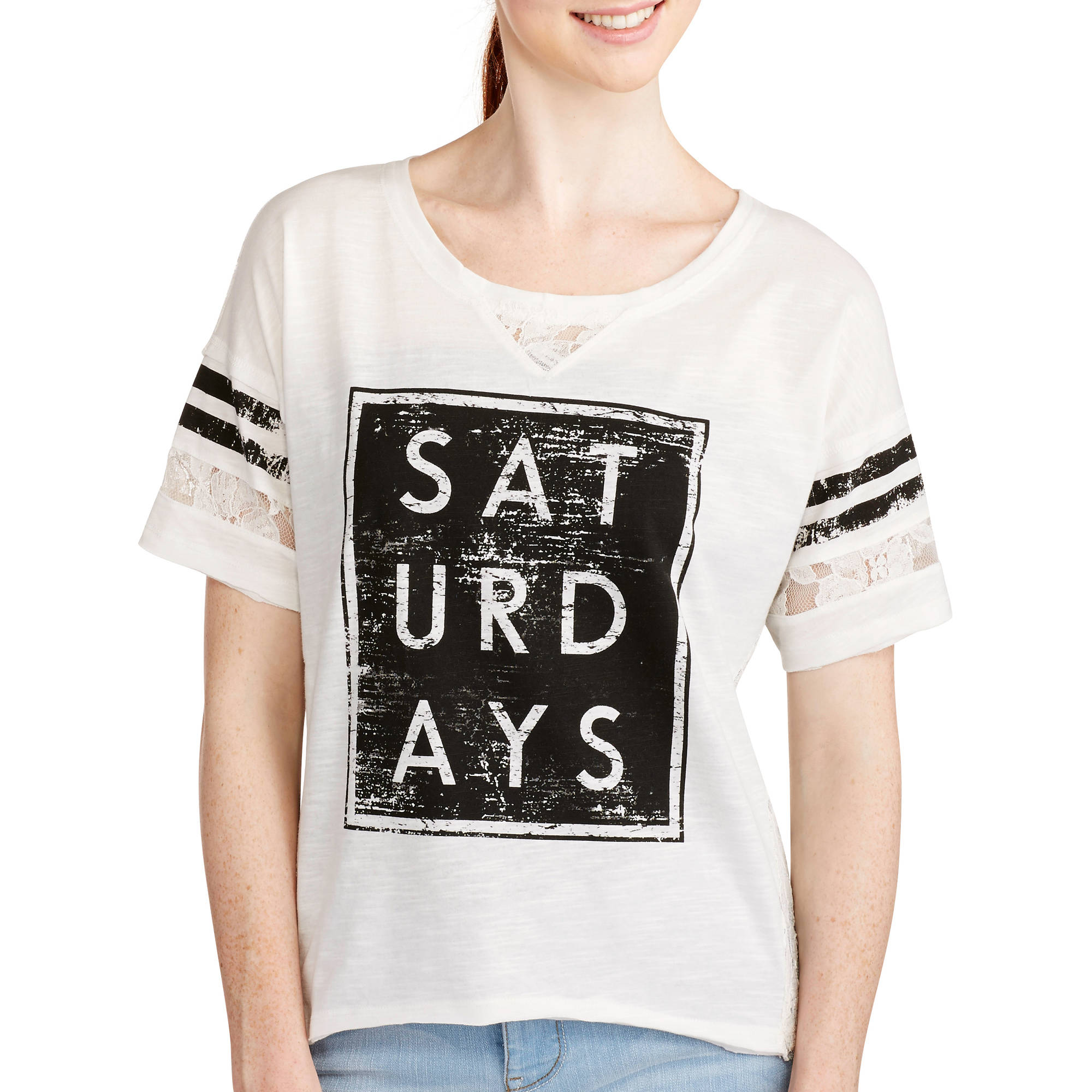 Almost Famous Juniors' Lace Back Varsity Tee
