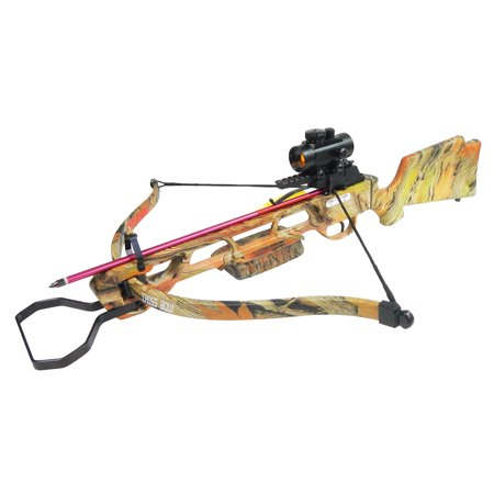 - 160 lb Black / Camouflage Hunting Crossbow Archery Bow +Red Dot Scope +4 Arrow +Quiver +Cocking Rope +stringer & etc 150