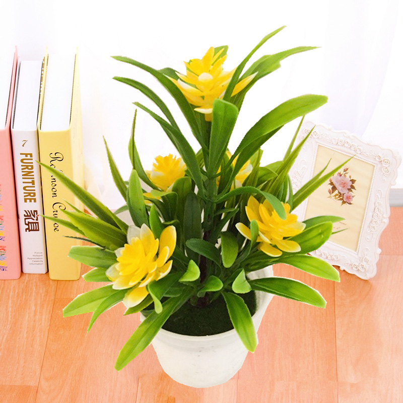 Realistic Artificial Flowers Plant In Pot Outdoor Home ...