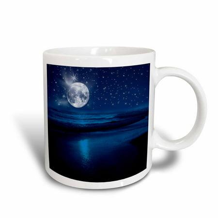 3dRose Full moon shining in a starry sky on the beach where the ocean meets land., Ceramic Mug, 15-ounce ()