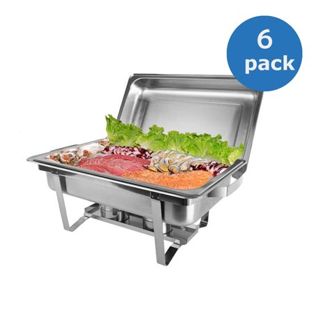 Ktaxon 6 Packs Chafing Dishes Set, 8 Quart Rectangular Full Size Upgraded Food Grade Stainless Steel Chafing Dishes Buffet, with Water Pan, Food Pan, Alcohol Furnace and Lid, for Weddings Party - Catering Pans