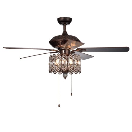 Mariposa 52-inch Rustic Bronze Chandelier Ceiling Fan wtih Crystal