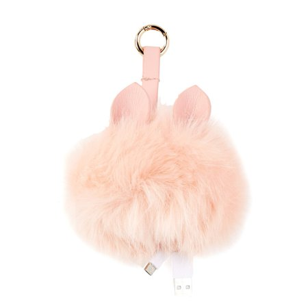 Under One Sky Juice It Up Pom W Ears Bag Charm Charger Power Bank   Blush Pink